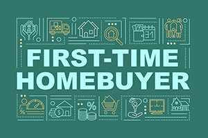 First-time homebuyer word concepts banner. Owned property. Looking for home. Infographics with linear icons on dark green background. Isolated typography. Vector outline RGB color illustration